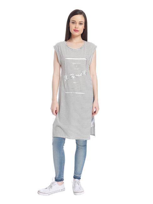 Women Casual Striped/Foil Top