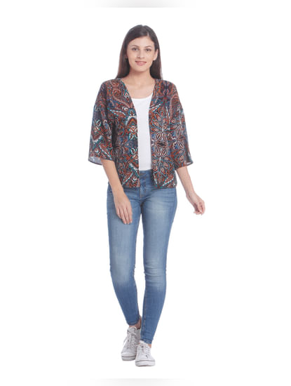 Women Casual Printed Shrug