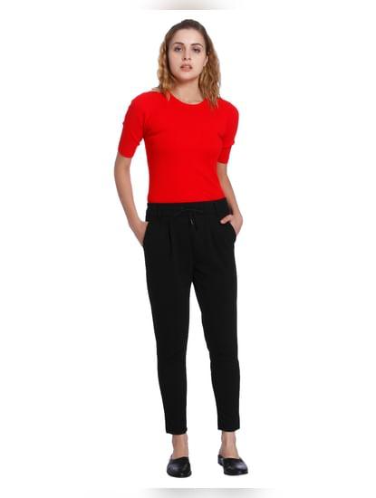 Black Glitter Drawstring Pants