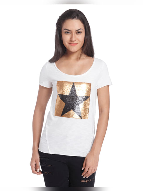 Solid/Embellished Casual Top