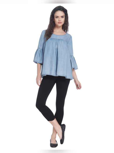 Blue Denim Top With Flared Sleeves