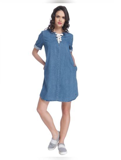Blue String Denim Dress