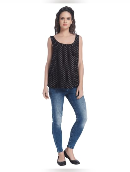Black Polka Dot Sleeveless Blouse