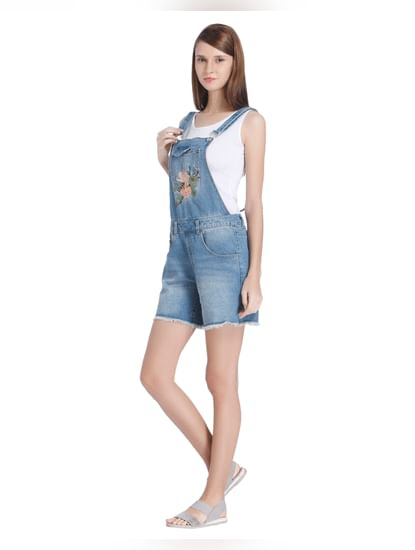 Blue Floral Embroidered Denim Short Dungarees