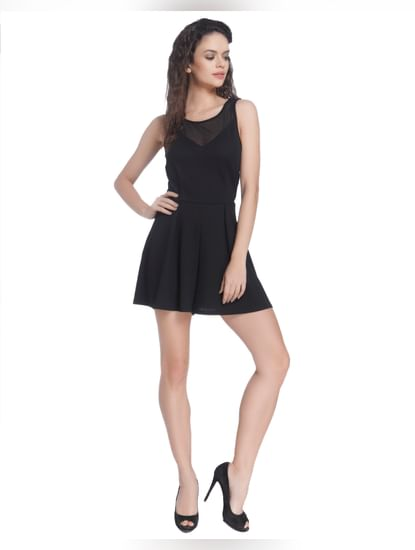 Black Playsuit With Mesh Detail