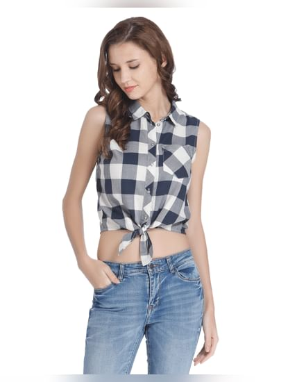 White Check Tie Front Shirt