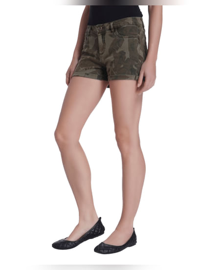 Olive Green Camo Shorts