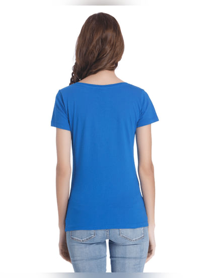 Blue Slogan Print T-Shirt