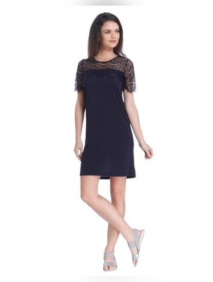 Dark Blue Lace Detail Shift Dress