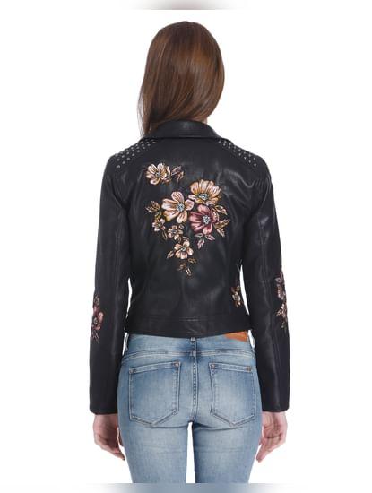 Black Floral Embroidered Biker Jacket