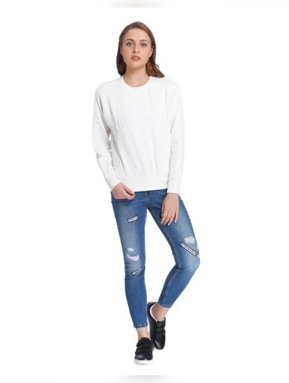 White Quilted Sweatshirt