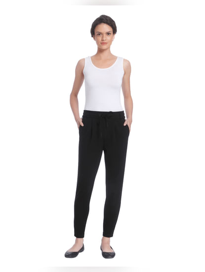 Black Mid Rise Slim Pants