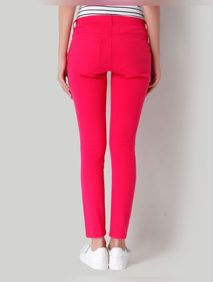 Pink Mid Rise Ankle Length Skinny Jeans
