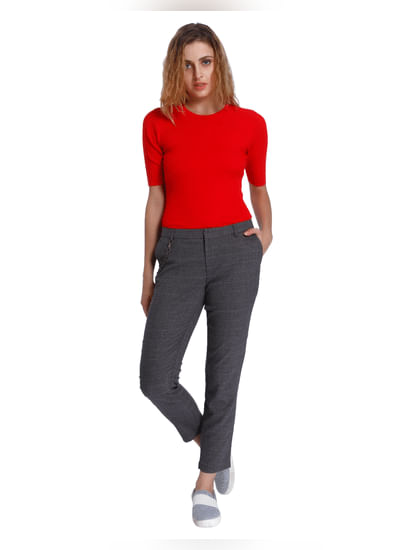 Grey Mid Rise Straight Check Pants