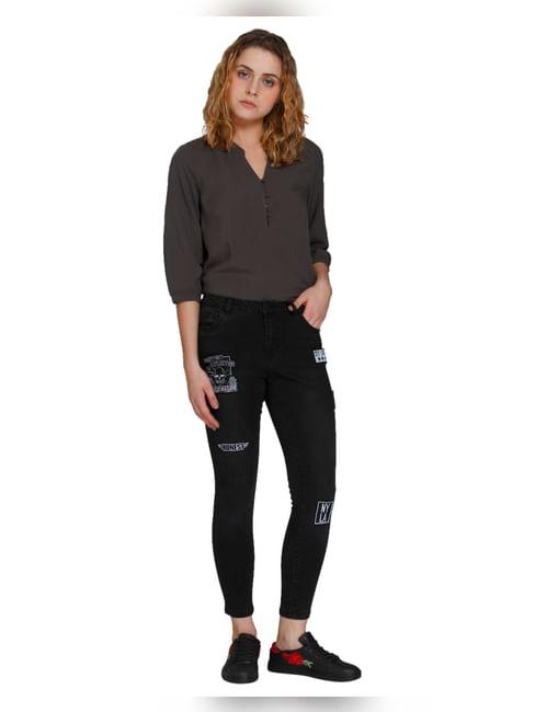 Black Badge Detail Medium Rise Skinny Fit Jeans