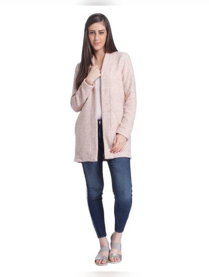 Pink Knit Long Blazer