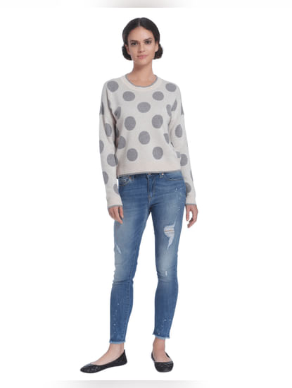 Light Grey Polka Dot Sweater
