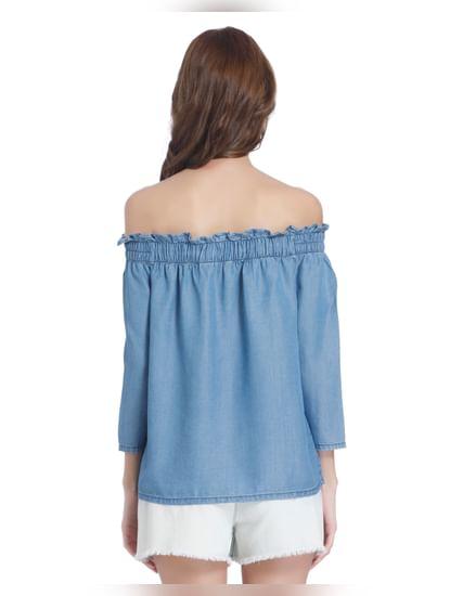 Blue Ruffle Neck Off Shoulder Denim Top