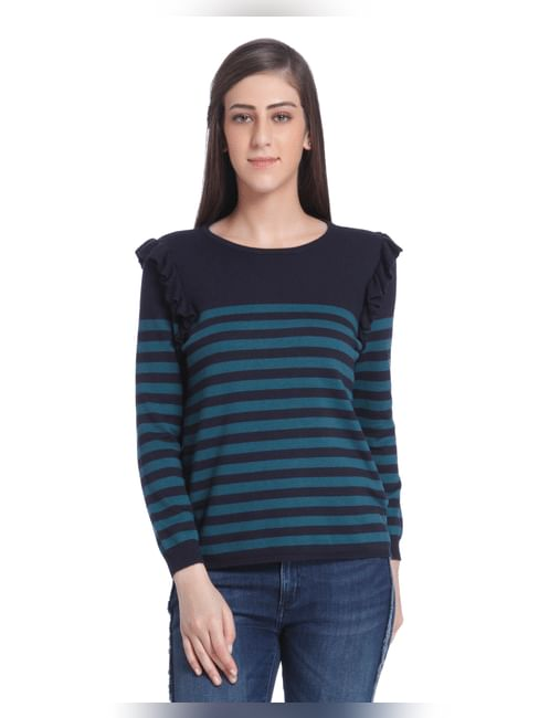 Blue Striped Frill Detail Pullover