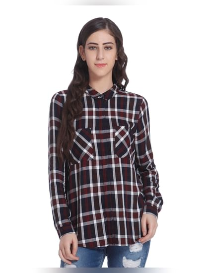 White & Red Check Loose Fit Shirt