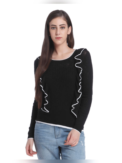 Black & White Frill Detail Pullover
