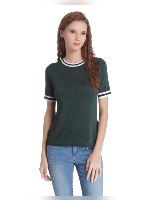 Grey Ribbed Round Neck Short Sleeve Top