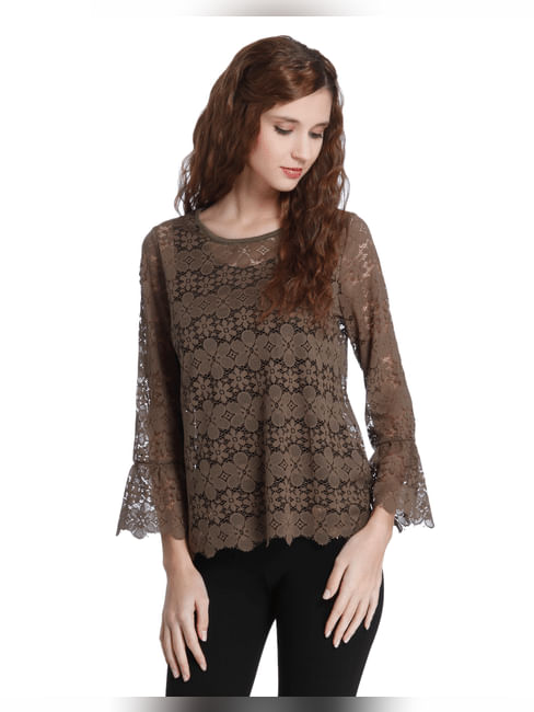 Brown Floral Lace Top
