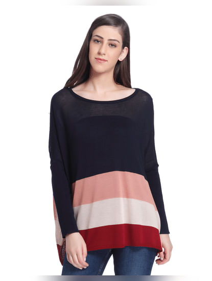 Blue Colour Blocked Loose Fit Pullover