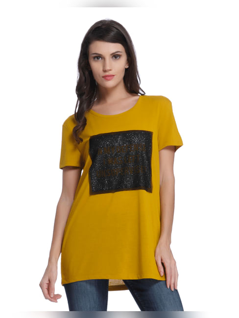 Yellow Print Half Sleeve Tee