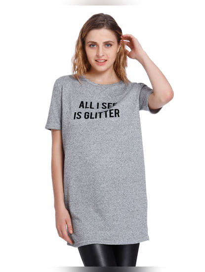 Light Grey Text Print T-Shirt
