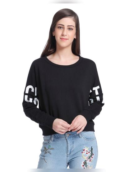 Black Rockstar Print Sweater