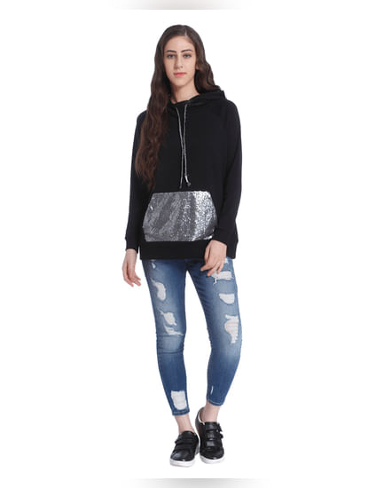 Black Sequined Hooded Sweatshirt