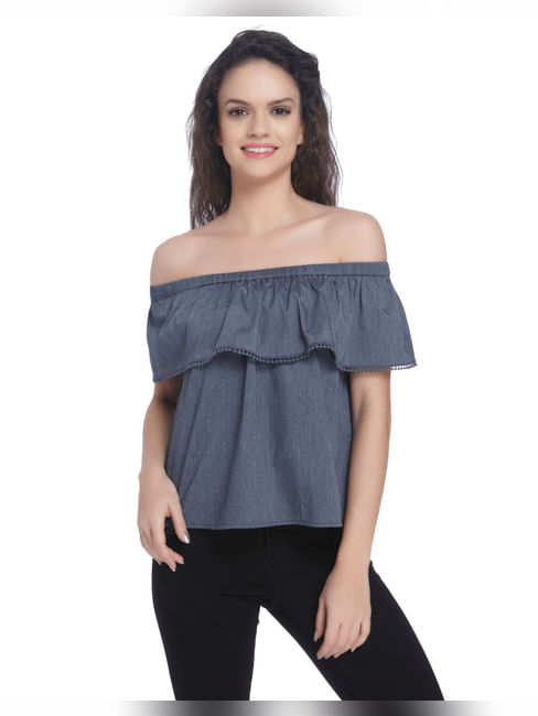 Off Shoulder Chambray Top