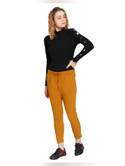 Mustard High Waist Slim Pants