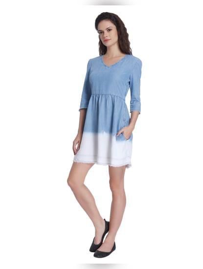 Ombre Blue Denim Dress