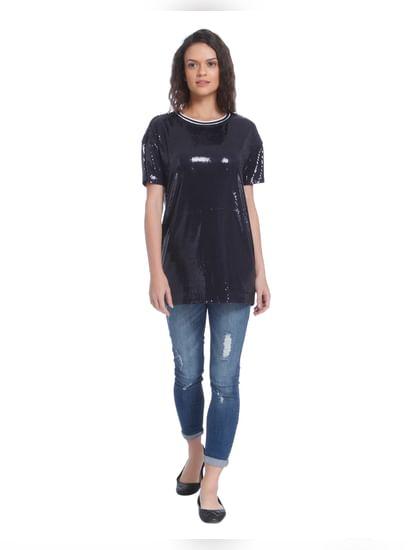 Dark Grey Sequined T-Shirt