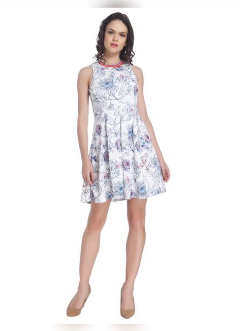 White All Over Print Skater Dress