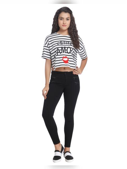 Striped Jersey Slogan T-Shirt