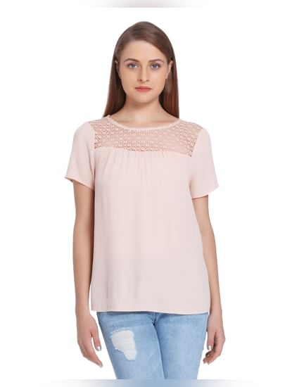 Pink Lace Insert Top