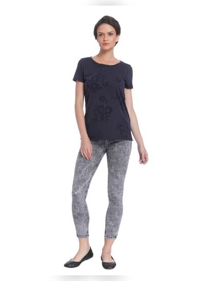 Dark Grey Printed Sheer T-Shirt