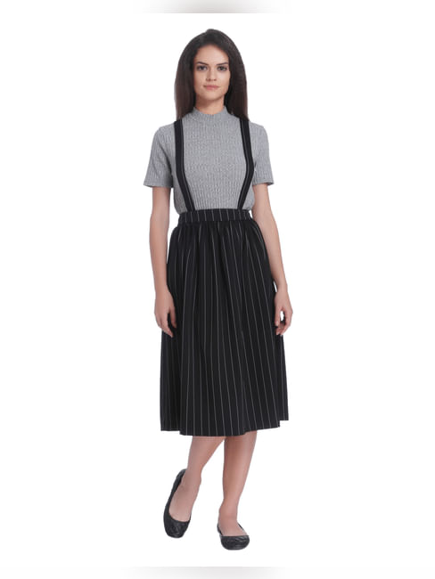 Black Striped Braces Midi Skirt