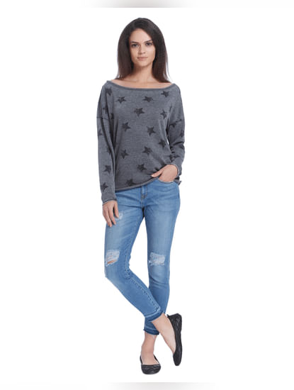 Black Boat Neck Print Full Sleeve Sweater