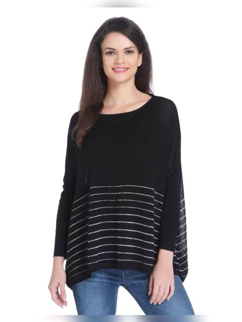Black Striped Swing Pullover