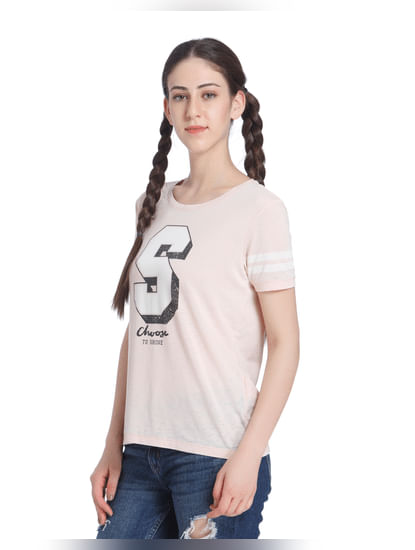 Beige Slogan Print T-Shirt