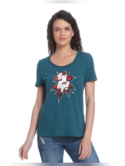 Teal Blue Sequined T-Shirt