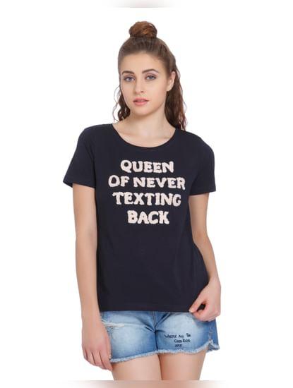 Dark Blue Text Print T-Shirt