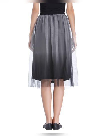 Black Ombre Dip Hem Skirt
