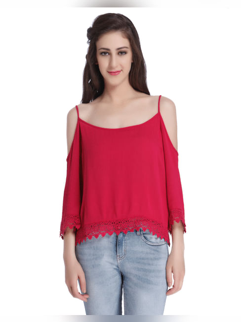 Pink Cold Shoulder Top With Lace Detail