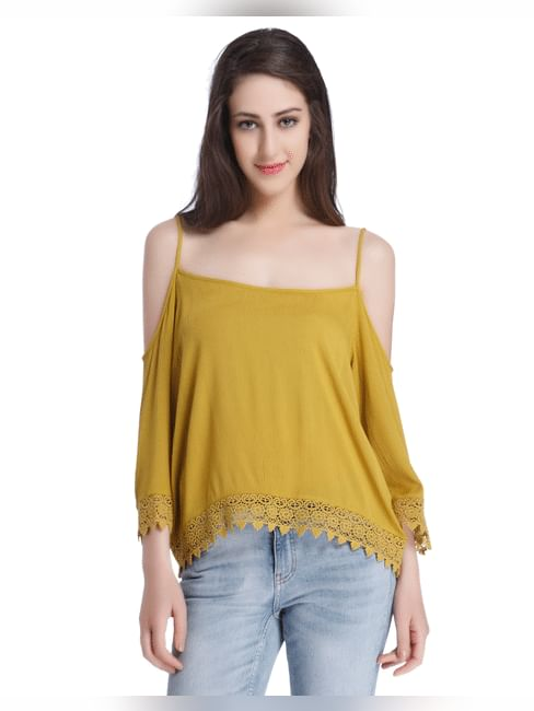 Olive Green Cold Shoulder Top With Lace Detail