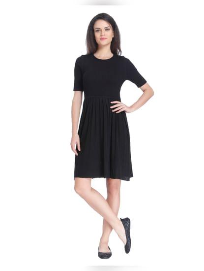 Black Fit & Flare Knit Dress
